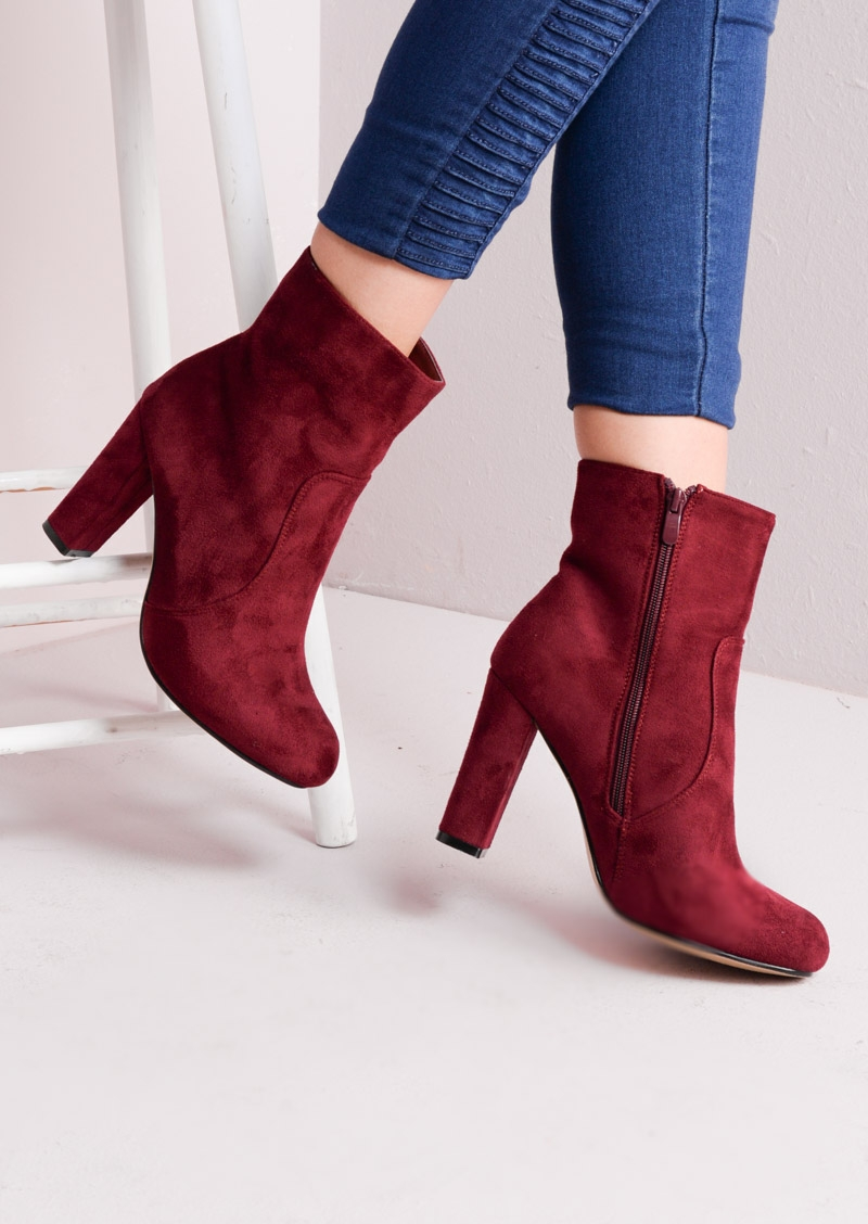 Amanda Zip Suede Block Heel Ankle Boots Burgundy Lily Lulu Fashion