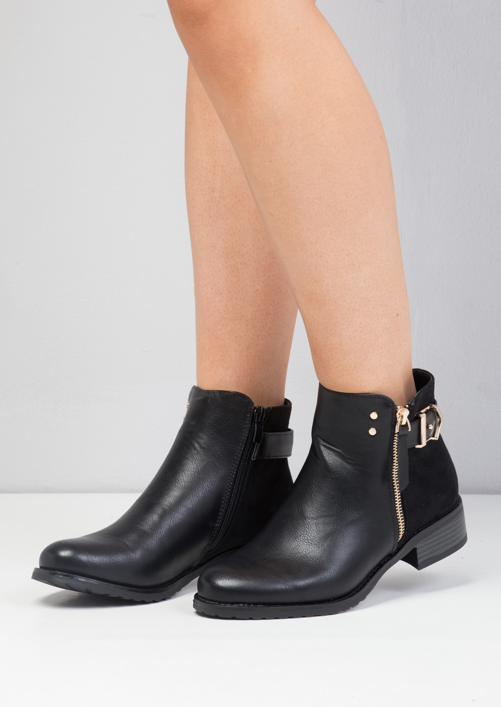 Buckle Faux Suede and Leather Chelsea Boots Black Lily Lulu Fashion