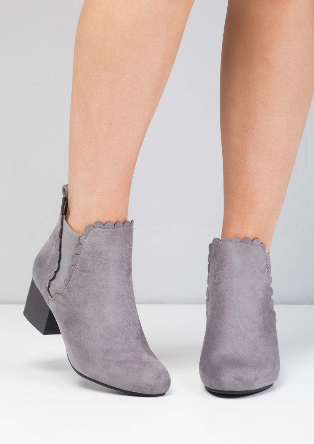 Dana Scallop Trim Block Heel Faux Suede Ankle Boots Grey Lily Lulu Fashion