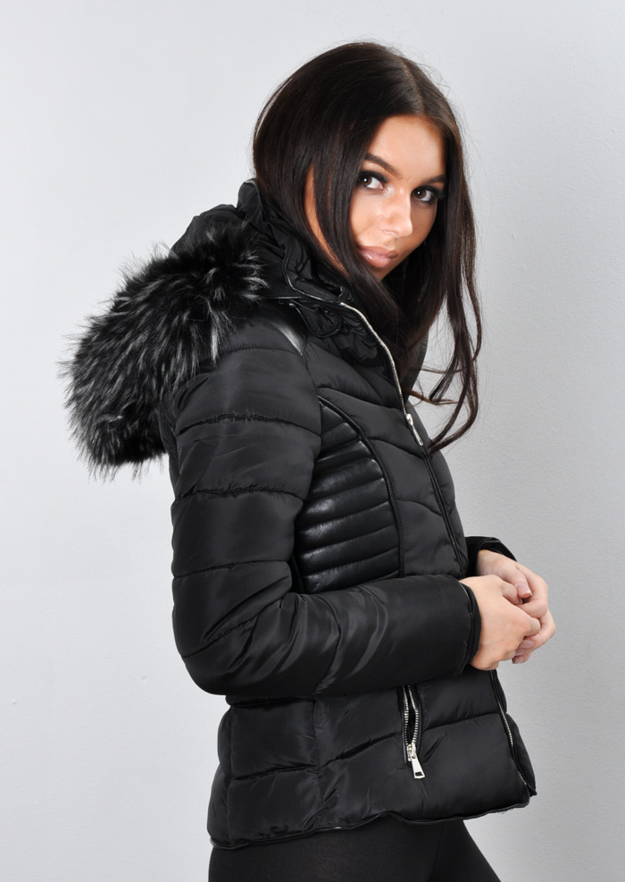 Giovanna Faux Leather Panel Fur Hooded Padded Puffer Jacket Coat Black Lily Lulu Fashion