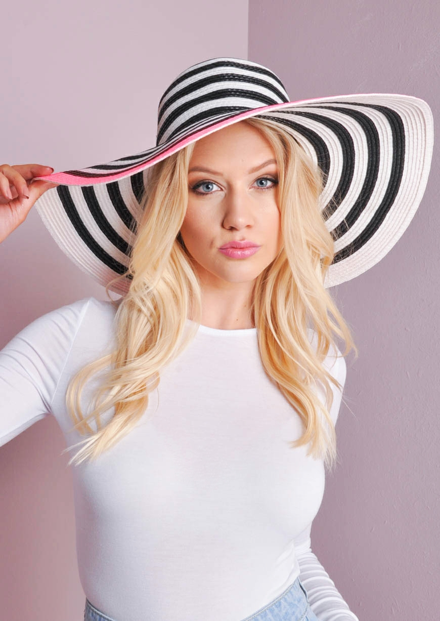 Hope Black, White & Neon Pink Floppy Hat lily lulu fashion