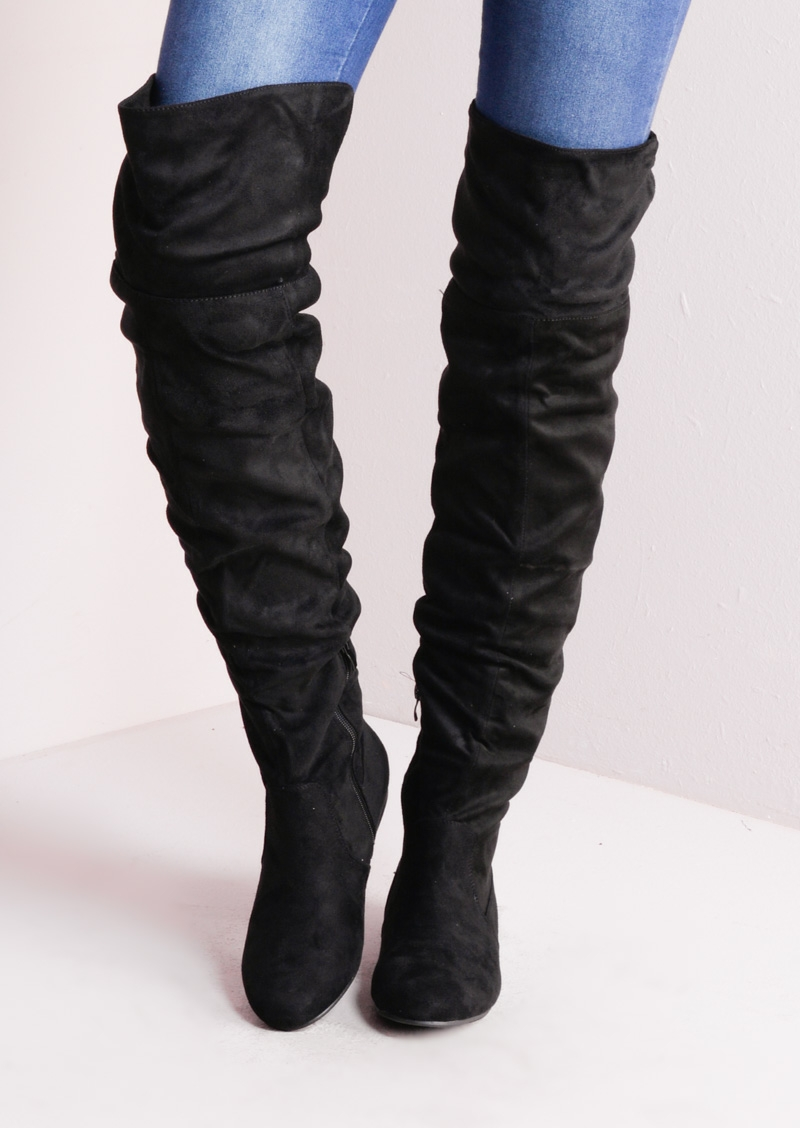 Over The Knee Flat Long Boots Suede Black