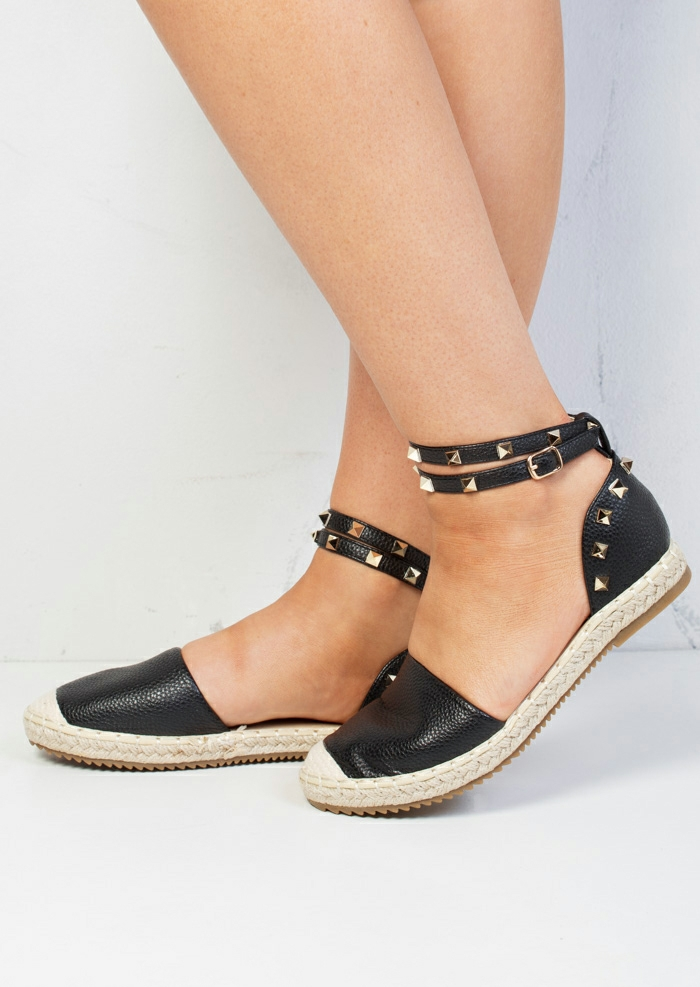 12fb2fa6c Faux Leather Studded Espadrilles Black Faux Leather Studded Espadrilles  Black