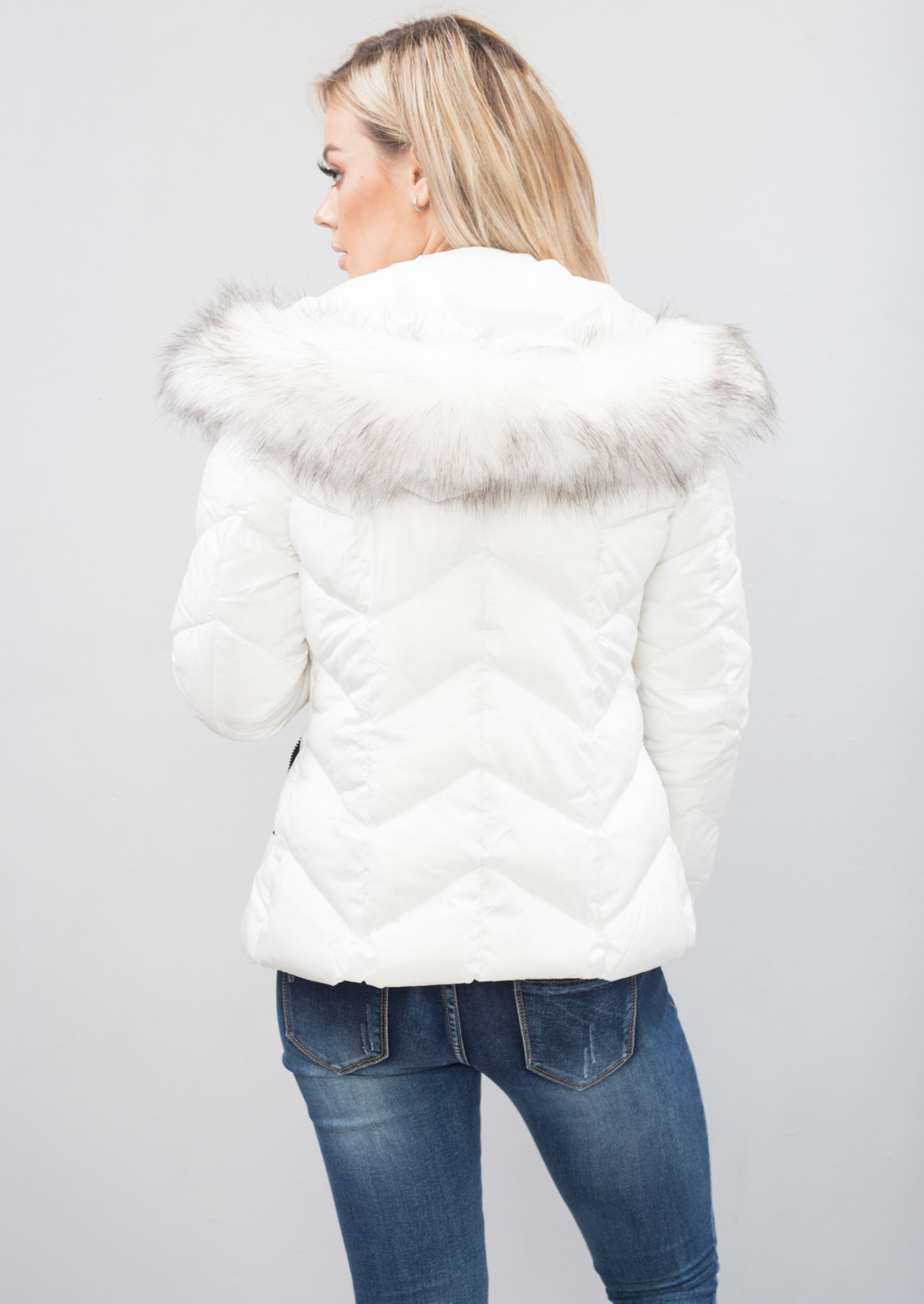 Reece Quilted Padded Contrast Zip Puffer Coat With Hood White Lily Lulu Fashion