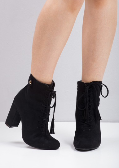Rochelle Tassel Lace Zip Up Ankle Boots Black Lily Lulu Fashion