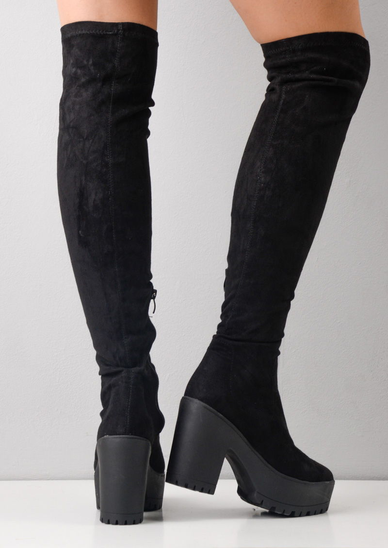 Over The Knee High Platform Cleated Sole Faux Suede Boots Black