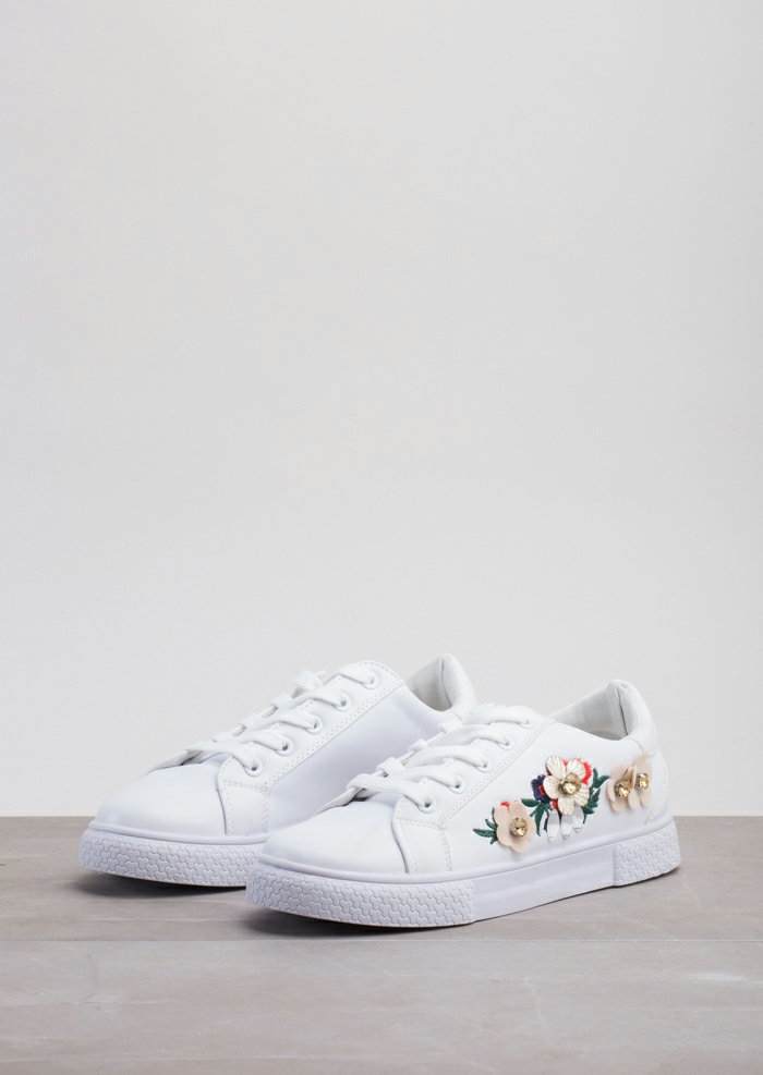 Flower Embroidered With Diamante Trainers White