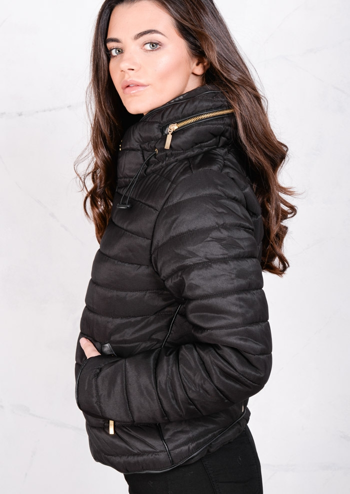 Zarifa Lightweight Quilted Puffer Padded Jacket Coat Black Lily Lulu Fashion